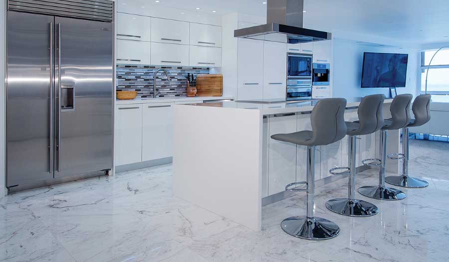 Carrara Marble Flooring In Kitchen